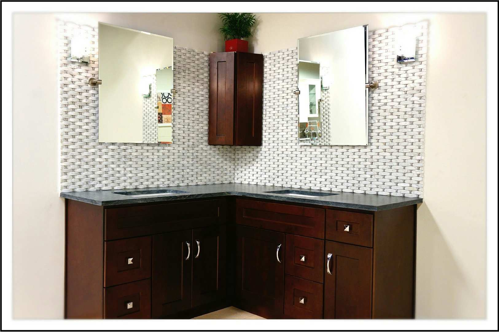 Columbus Bathroom Vanity wrapping around corner with 2 mirrors and 2 sinks