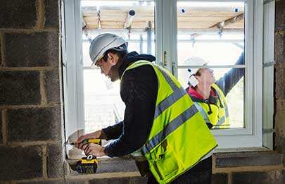 Columbus Ohio replacement windows installer at new home build site in basement