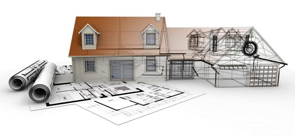Columbus custom home builders blueprint with mock up of new home build design