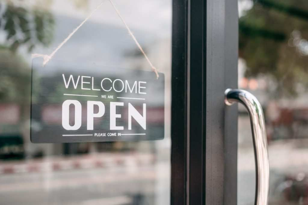 Open sign in new window installed in business